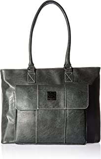 "Kenneth Cole Reaction Kenneth Cole Reaction Casual Fling Pebbled Fuax Leather Multi-Compartment 16"" Laptop Business Tote, Charcoal, Charcoal (Gray) - 539228"