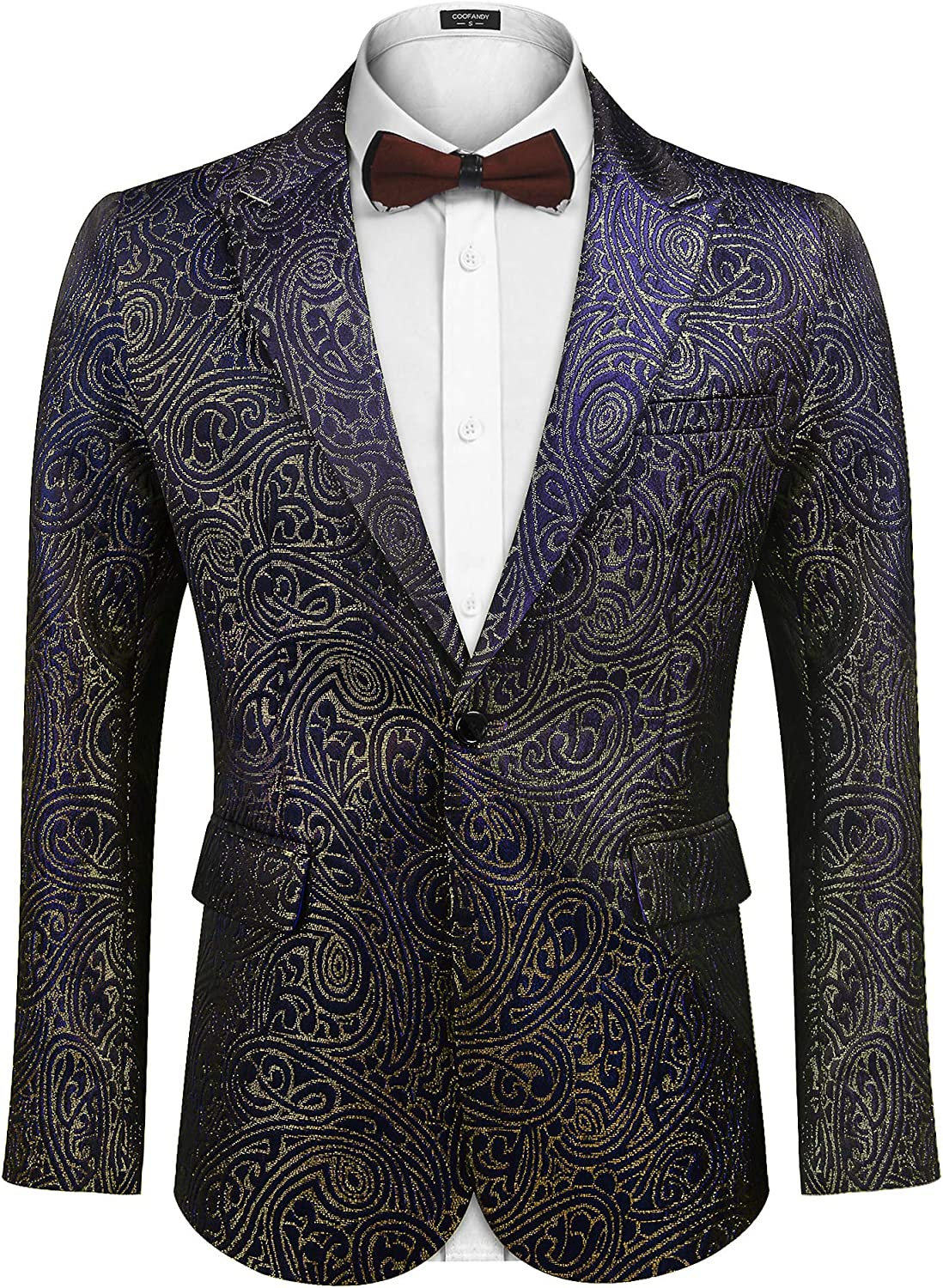 COOFANDY Men's Sequin Blazer Suit Jacket Slim Fit One Button Fashion Tuxedo Jacket for Dinner Party Wedding Prom