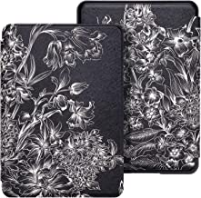 WALNEW Case Fits Kindle Paperwhite 10th Generation 2018 Protective Slim PU Leather Case Smart Auto Wake/Sleep Cover Compatible Kindle Paperwhite 10th Gen 2018 Released (A-Black Flower)