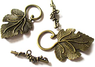 Heather's cf 16 Pieces Brass Tone Grape leaves Clasp Toggle Findings Jewelry Making 37X22/25X8mm(I)