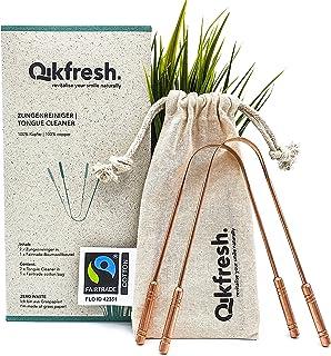 Qikfresh - 2x 100% koperen tongschrapers, incl. Fairtrade katoenen zakje   Antibacteriële Tongschraper, Stevige Handgrepen...