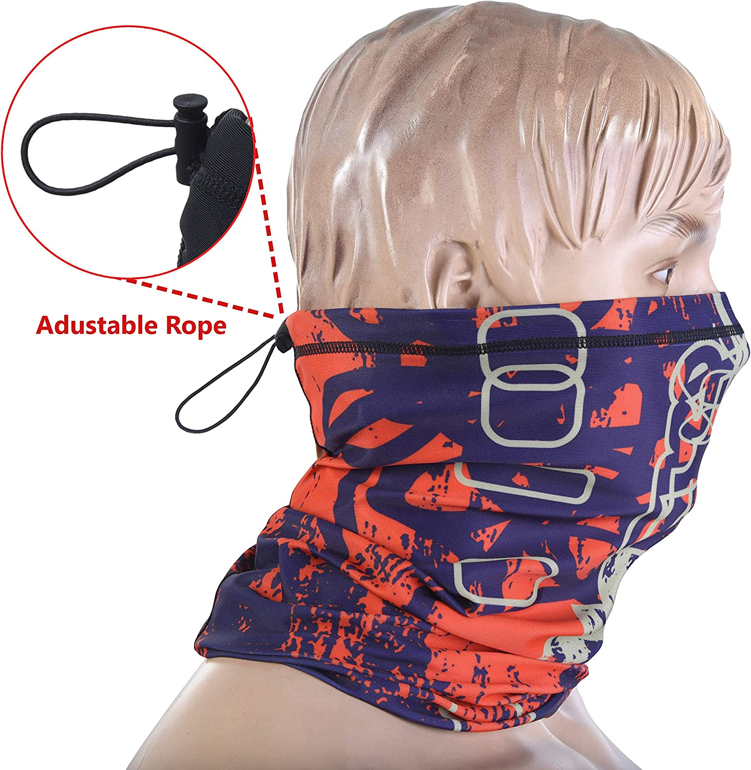 Storesum Neck Gators Face Mask-Set of 3 Assorted Design Neck Gaiter Face Mask for Men and Women- Reusable and Adjustable Neck Gator for UV Protection and Outdoor Activities