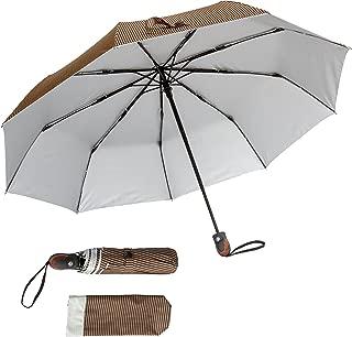 Automatic Open/Close Pinstriped Umbrella (Brown)