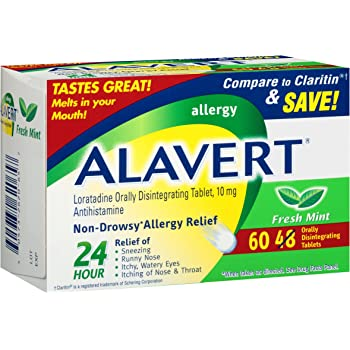 Alavert Allergy 24-Hour Relief (Fresh Mint Flavor Orally Disintegrating Tablets), Non-Drowsy, Antihistamine, 60 Count (Pack of 1)