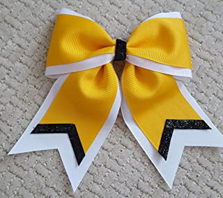White Yellow Gold with Metallic Black ends Hair Bow