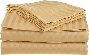 Superior 1500 Series 100% Brushed Microfiber 3-piece Twin Bed Sheet Set Stripe, Gold - Deep Pocket, Super Soft and Wrinkle Resistant