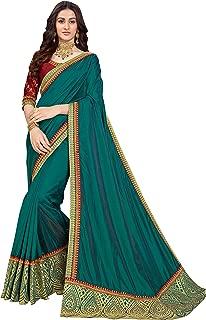 Manohari Embroidered Green Art Silk Saree with Blouse Piece