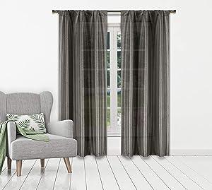 Home Maison Mariella Pole Top Metallic Textured Semi-Sheer Blackout Room Darkening Window Curtain Pair Drape for Living Room & Bedroom Set of 2 Panels, 38 X 84 Inch, Dark Grey