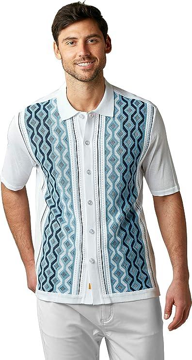 Mens Vintage Shirts – Casual, Dress, T-shirts, Polos EDITION S Mens Short Sleeve Knit Shirt - California Rockabilly Style Chain Links Design  AT vintagedancer.com