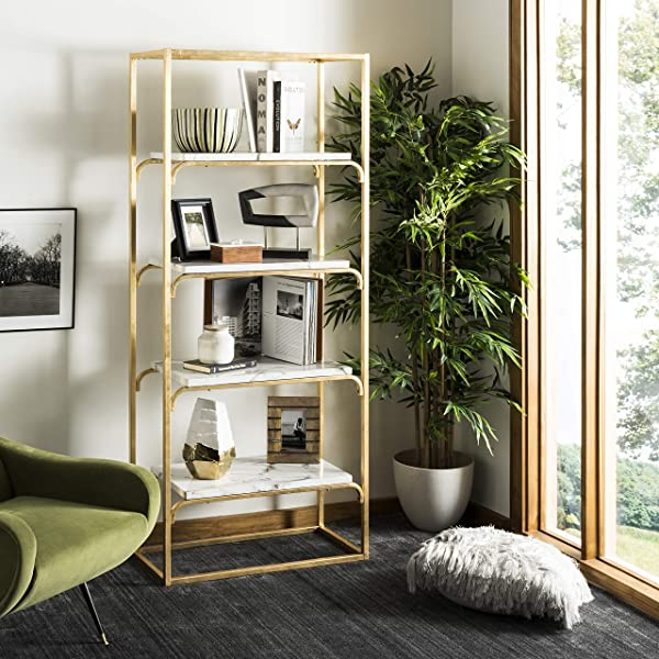Safavieh ETG6200A Home Collection Fiora 4 Tier Etagere Gold And White