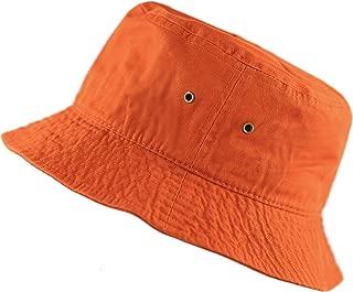 white and orange bucket hat