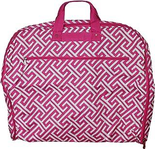 World Traveler World Traveler 40-inch Hanging Garment Bag - Greek Key H Fuchsia White, Greek Key H Fuchsia White (Pink) - 81GM40-185F-W