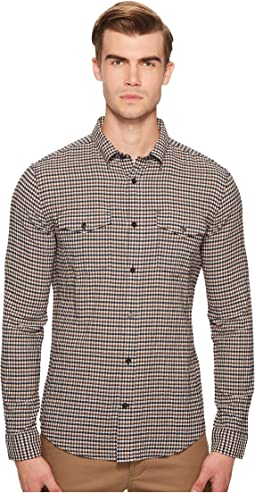Micro Plaid Long Sleeve Button Down