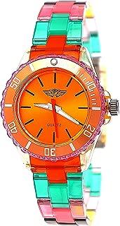 Cool NY London Rainbow Plastic Watch Colorful Plastic Ladies Bracelet Watch Boys Girls Wrist Watch Orange Red Green Blue Yellow Including Watch Box and Bracelet Shorter