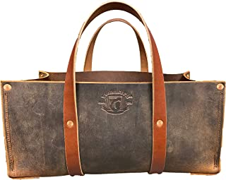 Buffalo Leather Tote Tool Bag For Hand Tools, Gardening, Outdoorsmen, Heavy Duty Premium Storage Leather Organizer (Crazy Horse Black)