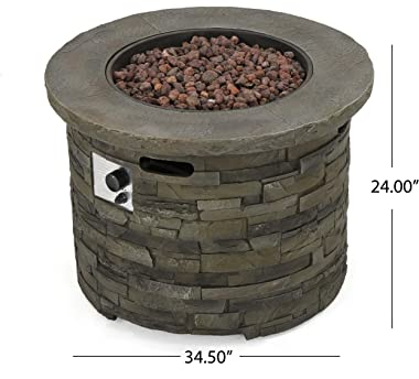 Christopher Knight Home Blaeberry Outdoor Circular Firepit, Natural Stone Finish