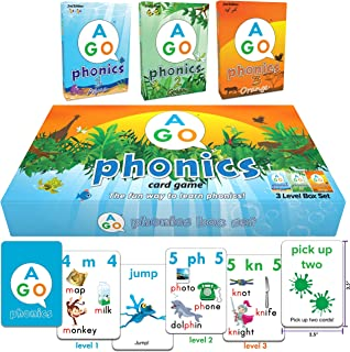 AGO Phonics Card Game (3 Level Box Set). Build Reading Skills, Learn Words and Phonics Sounds - All While Playing a Fun Ca...
