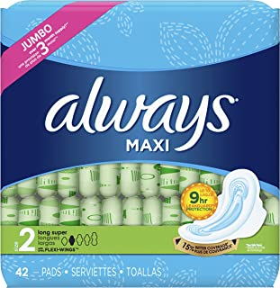 Always Maxi Size 2 Feminine Pads with Wings, Super Absorbency, Unscented, 42 Count (Packaging May Vary)
