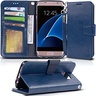 Arae Case Compatible for Samsung Galaxy s7 Edge, [Wrist Strap] Flip Folio [Kickstand Feature] PU Leather Wallet case with ID&Credit Card Pockets (Blue)