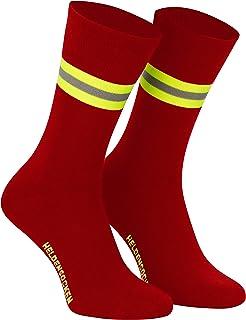 PACOTEX, Calcetines para héroes de la vida cotidiana de los bomberos (2 unidades), color rojo, amarillo, plateado y amarillo
