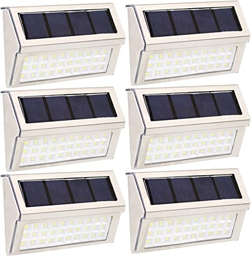 popular Sunnydaze Modern Style Mountable LED White Solar Lights wholesale - Set of 6 2021 - Stainless Steel Rechargeable Flood Light - Outdoor - Light Up Your Deck, Fence, Yard, or Patio outlet online sale