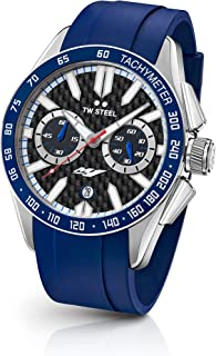 TW Steel Men's Grandeur Sport Stainless Steel Quartz Watch with Silicone Strap, Blue, 24 (Model: GS4)