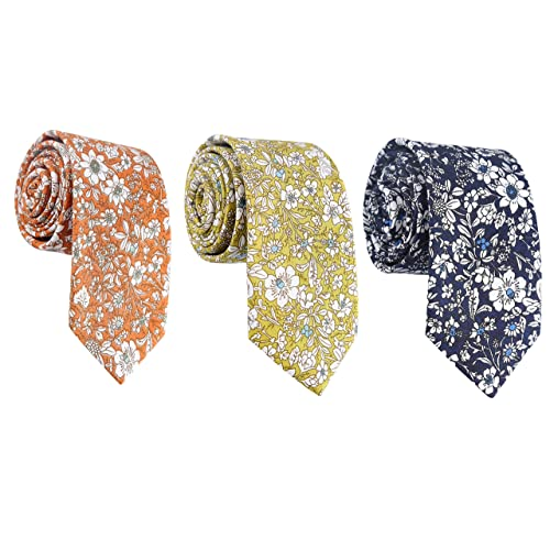 Mens Fashion Causal Cotton Floral Printed Tie Necktie Skinny Ties for Men Pack ...
