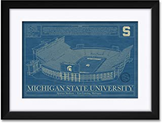 Northwest Art Mall Spartan Football Stadium Michigan State University Framed & Matted Hand-Drawn by Robert Redding. Print Size: 13