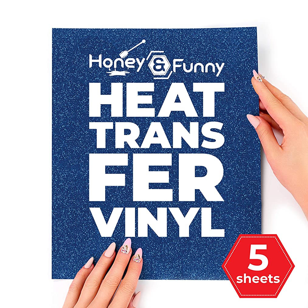 Glitter HTV Heat Transfer Vinyl Bundle 12x10-5 Sapphire Blue Color Sheets for Cricut Silhouette Cameo or Heat Press Machine - Bonus Teflon Sheet Iron On Vinyl for DIY T-Shirts