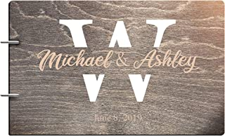 Just Customized Personalized Handmade Mr Mrs Wedding Guest Book for Bride and Groom Wood Alternative Custom Engraved Newlywed Marriage Album (Black Walnut)