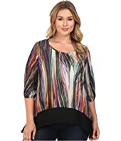 Karen Kane Plus - Plus Size Modern Art Sheer Hem Top