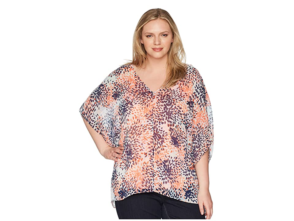NYDJ Plus Size Plus Size Chiffon Caftan Popover (Stargazer Desert Flower) Women's Clothing