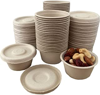 2 Ounce Souffle Cups and Lids - 100% Biodegradable and Compostable - Bagasse/Wheat Fiber - 50 Pack