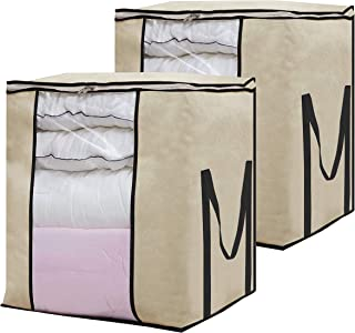 SLEEPING LAMB Extra Large Storage Bag Organizer Breathable Clothes Storage Container with Clear Window for Comforter Pillow Sweater Bedding Dormitory Home, 2 Pack, Beige