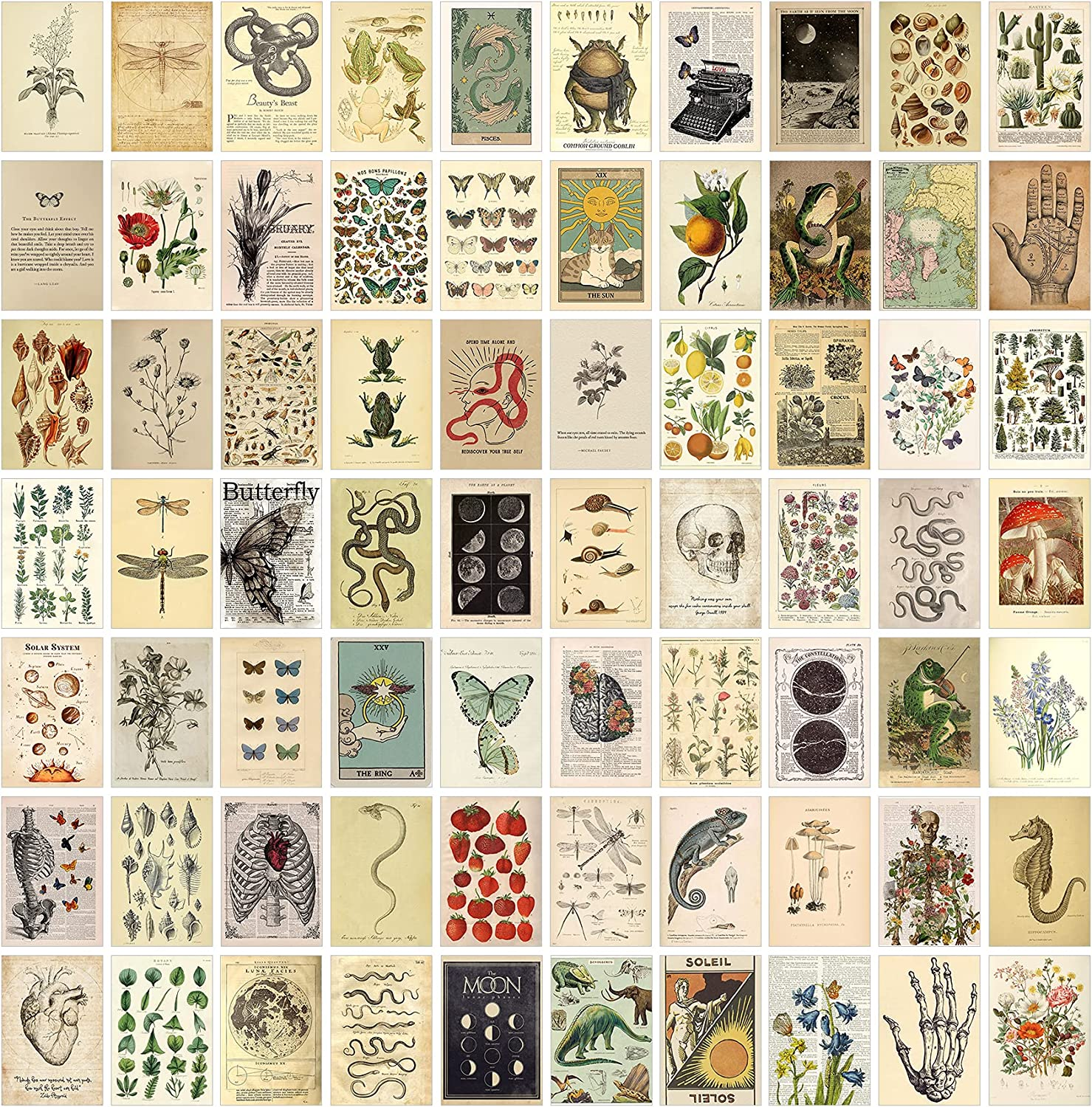 KOSKIMER 70PCS Vintage Wall Collage Kit, 70 Set 4x6 Inch, Posters for Room Aesthetic Vintage, Picture Collage kit, Trendy Posters for Room Aesthetic, Vintage Wall Decor for Teens, Vintage Wall Art