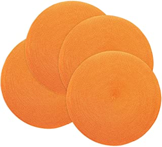 Doupoo Round Place Mats for Kitchen Table,Vinyl Woven Placemats Heat Resistant Table Mats Set of 4 (4, Orange)