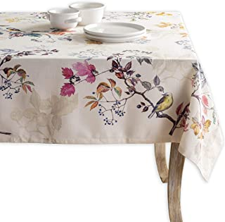 Maison d' Hermine Equinoxe 100% Cotton Beige Tablecloth 60 Inch by 120 Inch. Perfect for Thanksgiving and Christmas