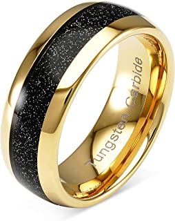 100S JEWELRY Tungsten Ring for Men Wedding Band Black Sandstone Inlaid Gold Dome Size 6-16
