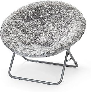 Urban Shop Oversized Mongolian Saucer Chair, Silver
