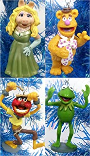 The MUPPETS 4 Piece Christmas Ornament Set Featuring Kermit the Frog, Miss Piggy, Animal and Fozzie - Around 3.5