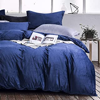 NTBAY Velvet Flannel Duvet Cover Set, 3 Pieces Zippered Comforter Cover Set, King, Navy Blue