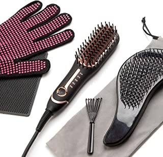 Dwave Mini Hair Straightening Brush – Travel Ceramic Brush Straightener for All Hair Types – Hot Air Brush for Frizz Free Hair – Bundle with Detangling Brush, Heat Resistant Gloves and Silicone Mat