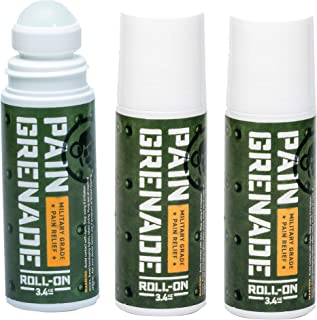 Roll On Pain Relief by Pain Grenade - Roll On Muscle Pain Reliever, Back Pain, Arthritis – with Arnica, Menthol, Camphor - 3 Pack