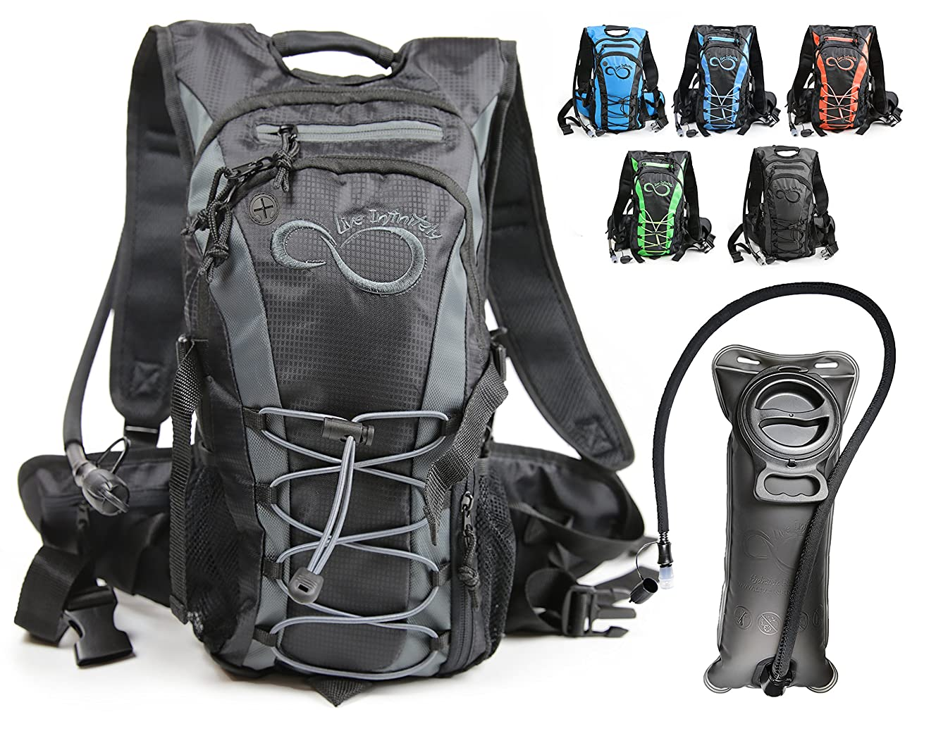 Live Infinitely Hydration Backpack 2L / 3L TPU Leak Proof Water Bladder- 600D Polyester -Adjustable Padded Shoulder, Chest & Waist Straps- Silicon Bite Tip & Shut Off Valve- Daypack Cycling & Hiking