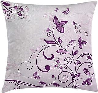 Malva Decor - Funda de cojín, diseño de hojas espirales con mariposas voladoras inspiradoras florecientes, imagen de belleza floral, funda de almohada decorativa cuadrada, 45,7 x 45,7 cm, color lila