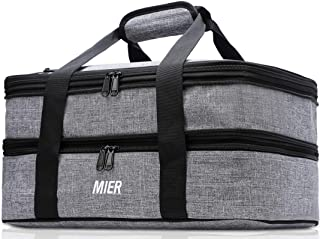 MIER Insulated Double Casserole Carrier Thermal Lunch Tote for Potluck Parties, Picnic, Beach, Fits 9 x 13 Inches Casserol...
