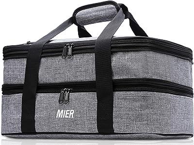 MIER - Bolsa térmica con aislamiento doble para almuerzo, ideal para fiestas de Potluck, picnic, playa, se adapta a cazuela de 22,8 x 33,8 cm, expandible, gris