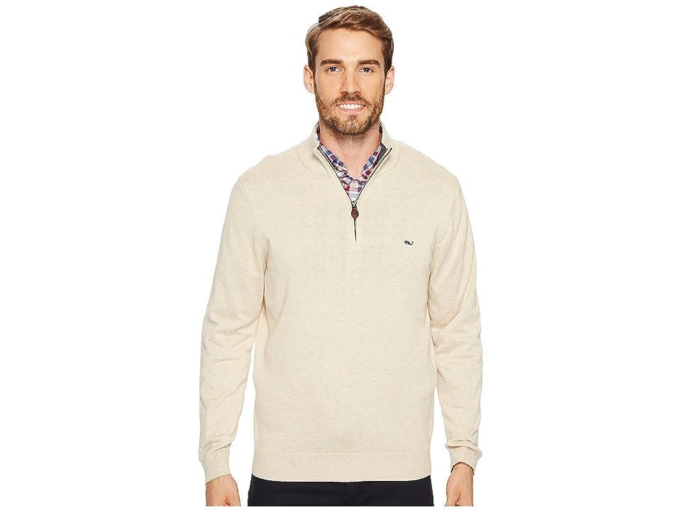 Vineyard Vines Cotton 1/4 Zip Sweater (Oatmeal Heather) Men