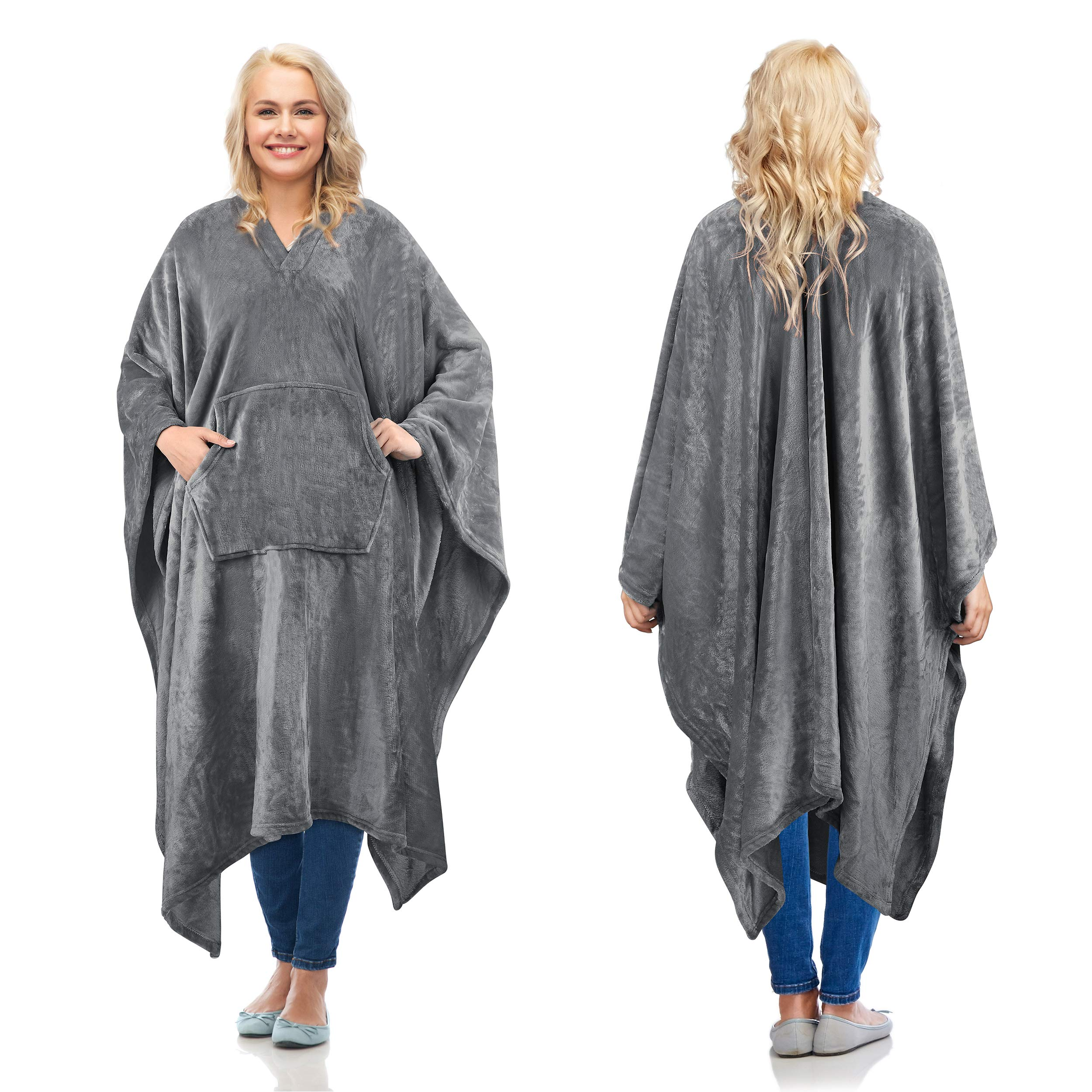 Amazon.com: Fleece Wearable Blanket Poncho for Adult Women Men,Wrap Blanket  Cape with Pocket |Warm,Soft,Cozy,Snuggly,Comfort Gift,No Sleeves|All  Season,Gray: Home & Kitchen