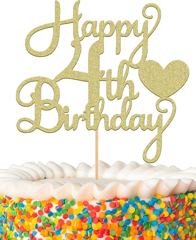 MYAMPED Happy 4th Brand Cheap Sale Venue Birthday Cake Topper - New life Yea Golden Four Glitter
